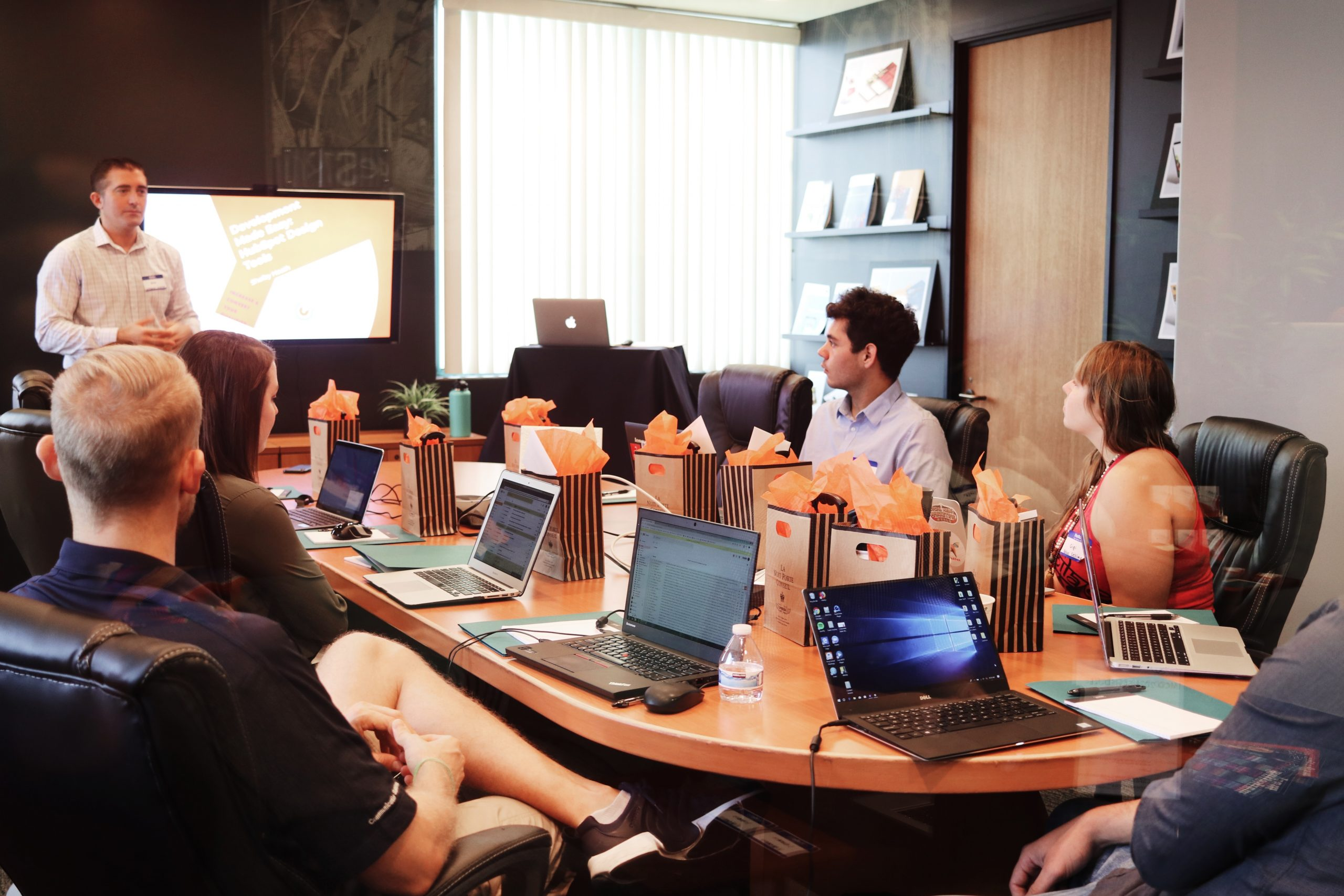 meeting discussing audio visual design options